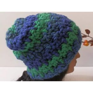 Crocheted Hat BLUE GREEN Chunky Warm SLOUCH Unisex